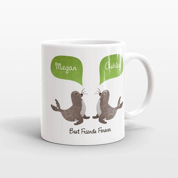 Best Friend Gift, Seal Mug, Personalized Best Friend Mug, Animal Best Friend Coffee Mug, Unique Friendship Gift Best Friend Birthday Gift