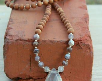 Botswana Agate Sandalwood Mala - Mediation Inspired Yoga Beads/ BOHO chic / mala beads