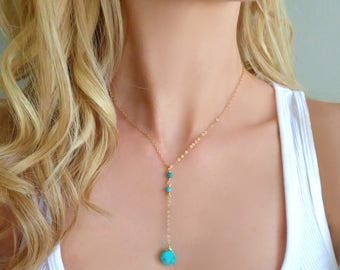 Turquoise Lariat Necklace, Beaded Turquoise Necklace, Genuine Turquoise Y Necklace, Sleeping Beauty Turquoise Jewelry, Dainty Jewelry Gift