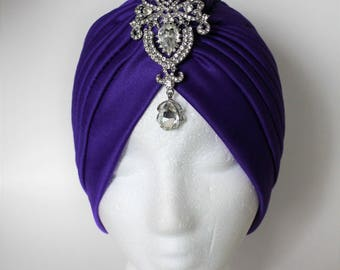 Fashion Turban, Front Twist Turban, Beach Turban, Purple Turban Headband, Pretty Turban, Chemo headband, Hairloss Headband Turban, Turban