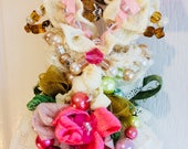 Fabric Vintage Lace Dollhouse Wedding Ornament Handmade Jewelry Gift