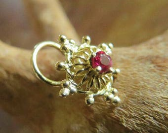 18K Solid Yellow Gold Nose Stud Ruby / from The Stars Work Shop