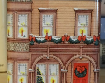 1990 Christmas Tin, Santa's Workshop, 3.5 inches tall X 2.5 inches wide, made in England