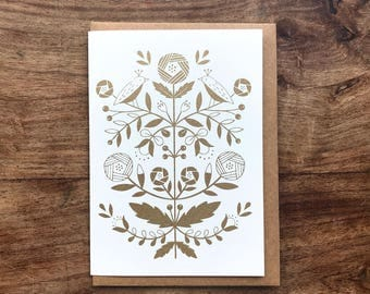 Bronze folk flowers screen printed greeting card