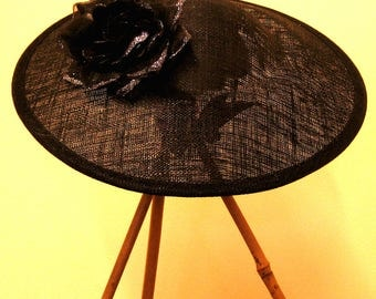 Black Sinamay Saucer Hat / Headpiece with Rose Hairclip - Free UK Postage