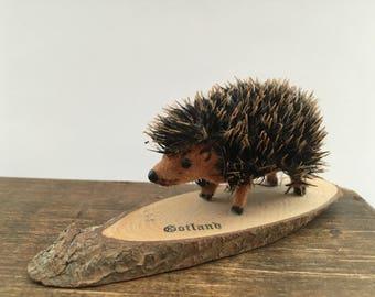 Vintage handmade hedgehog Souvenir hedgehog figurine Small Toy hedgehog Miniature hedgehog Gotland souvenir