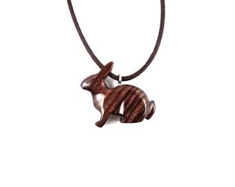 Rabbit Pendant, Rabbit Necklace, Bunny Pendant, Bunny Necklace, Wood Bunny Necklace, Wooden Rabbit Totem Jewelry, Hand Carved Animal Pendant