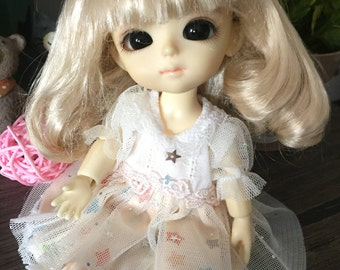 bjd doll long curly wig for lati yellow pukifee 16cm (1 color)