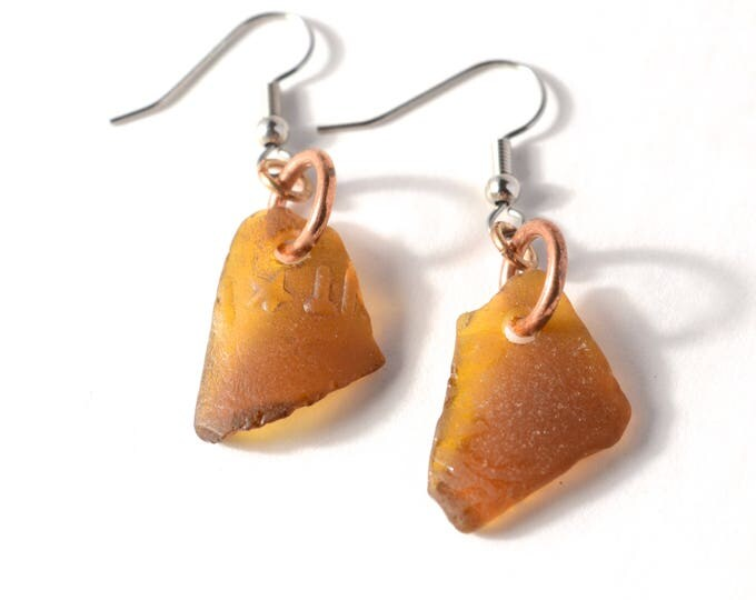 Rhode Island Brown Sea Glass Earrings with Shiny Copper Links with Sterling Silver or Hypoallergenic Surgical Stainless Steel Ear Wires