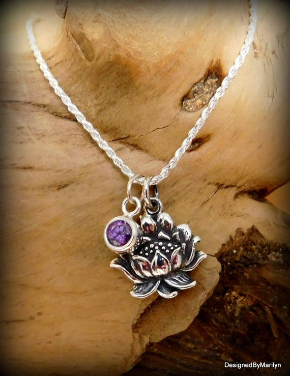 Sterling silver necklace, yoga jewelry, religious jewelry, meditation, full lotus flower, Mothers gift