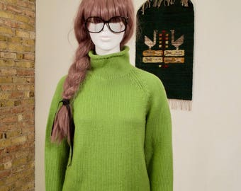 granny smith lime green sweater / mock neck sweater / oversized sweater / wool sweater / wool jumper / colorblock / minimalist / 90s sweater