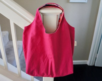 Reversible Grocery Bag, Reusable Eco Market Bag, Eco Bag, Eco Shopping Bag, Fuchsia, Pink Flower