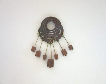 Bronzetone metal circle brooch with fringe ending in square beads - industrial chic - brutalist - 1980s statement piece -Free U.S. Shipping