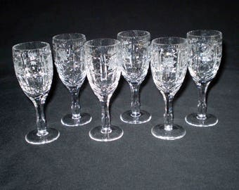 Set Of 6 Cut Crystal Cordial Glasses