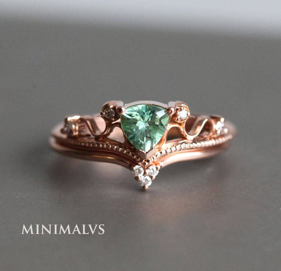 Vintage Wedding Ring Set Art Deco Engagement Rose Gold