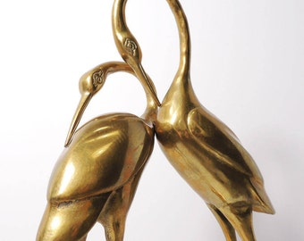 Vintage Hollywood Regency Patina pair of Solid Brass Cranes