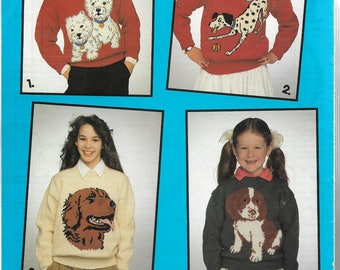 1990 Knitting Pattern Knit Sweaters -  DOGS- 4 Dog Graphs Child & Adult - WESTIES, DALMATION, Golden Retriever, Pooch - All Sizes