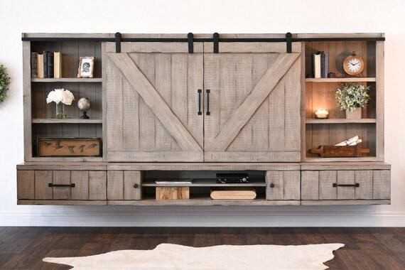barn door floating tv stand entertainment center farmhouse. Black Bedroom Furniture Sets. Home Design Ideas