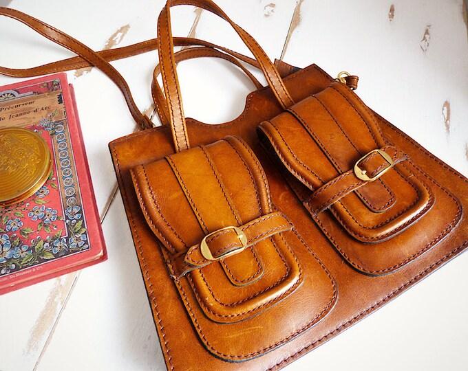 Genuine leather French satchel-style handbag - P.P. Fougy