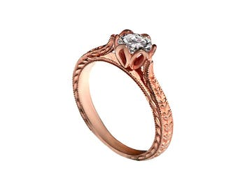 flower and leafs engagement ring, leaf diamond ring, 14K rose Gold leaf design Ring, solitaire diamond ring, half carat diamond ring, DINAR