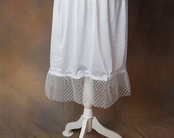 Two Layer White Polka-Dot Tulle Skirt/Dress Extender, Slip Lengthener
