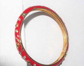 Joan Rivers Bracelet - Hinged Bangle Red with Stones - S2100