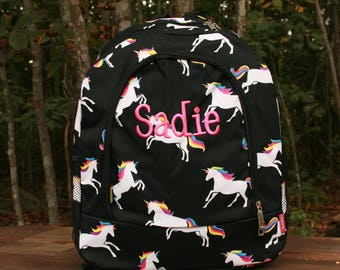 Monogrammed Unicorn Backpack Girls Bookbag