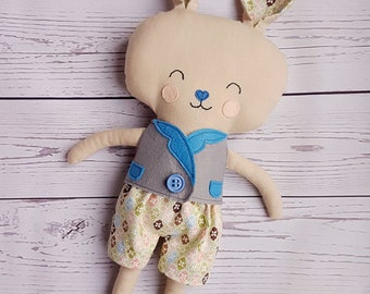 Boy bunny-Softy-For boys-Rabbit-Animal toy-Present for Easter-Plush-Gift-Softy-Cute-Sweet-Friend-Birthday-Dress up doll