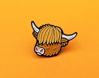 Highland Cow pin - Scottish cattle - cow - scottish pin - scottish gift - ginger - enamel pin - lapel pin