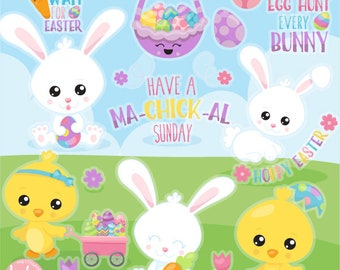 80% OFF SALE Easter friends clipart commercial use, easter bunny vector graphics, easter digital clip art, digital images  - CL1128