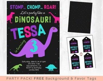 Girls Dinosaur Birthday Invitation, Girls Dinosaur Birthday Party, Stomp Chomp Roar, Dinosaur Party, Dinosaur Party Pack - Background & Tags