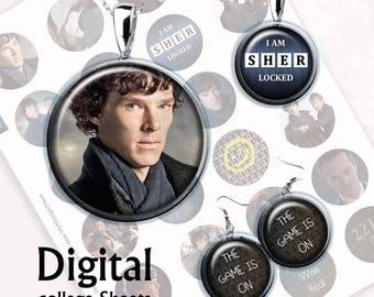 Sherlock Bottlecap Digital Collage Sheet  1,5 inch, 1 inch, 15 mm Jewelry Supplies, Bottle Caps, Crafts, Scrapbooking