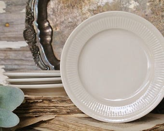 Vintage White Ironstone Plates Restaurant Ware SHENANGO CHINA Salad Dessert Farmhouse Decor Fixer Upper Decor Set of 4