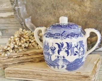 Antique Ironstone Sugar Bowl Blue Willow Flow Blue Transferware  Farmhouse Decor Fixer Upper