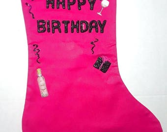 Hot Pink Birthday Stocking ADULT