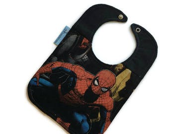 Spider-Man Bib • Superhero Baby Shower Gift • Upcycled T-shirt Bib