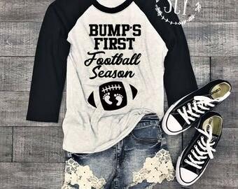 Bump's First™ Football Season Pregnancy Shirt - Football Pregnancy Shirt - Game Day Shirt - Football Season Tee - Pregnancy Announcement