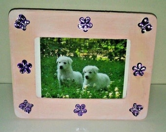 Pink and purple wood picture frame, 4 x 6 photo, table top picture frame, wall decor, girls baby pictures, hand painted