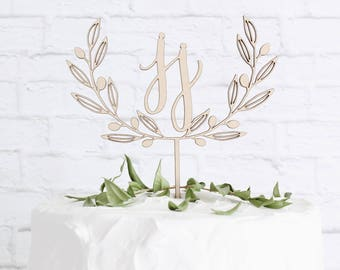 Monogram Cake Topper,  Custom Wreath Wedding Cake Topper, Wreath Cake Topper, DIY Cake Topper