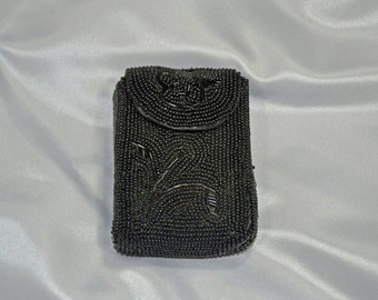 Black Bead Cigarette Pouch Made In Japan FREE SHIPPING