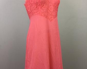 Vintage 50s 60s VANITY FAIR Coral n Lace Slip Dress S/M