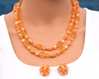 Vintage West Germany Peach Orange Lucite Bib Necklace & Earrings, Mid Century W. Germany Bib Necklace Cluster Clip-Ons, Estate Jewelry