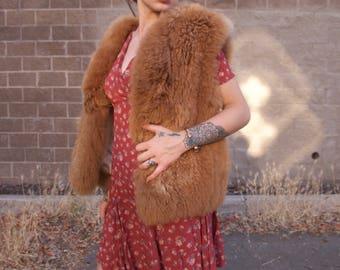 Vintage Alpaca Fur Vest Brown Tan Real fur Neilam One Size Pockets 70's