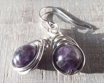 Sterling Silver Amethyst Earrings, Amethyst Dangle Earrings, Purple Stone Earrings, Dark Purple Earrings, Gothic Earrings, February