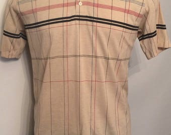 Vintage MENS Robert Bruce tan chest stripe polo shirt, size large