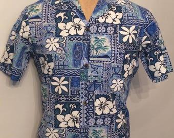 Vintage MENS Royal Creations blue, green & white short sleeve Hawaiian shirt, made in Hawaii, size S