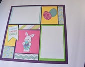 """Easter Egg Dyeing - 12"""" x 12"""" Premade Scrapbook Double Pages, Mosaic Scrapbook Page, Children Photos"""