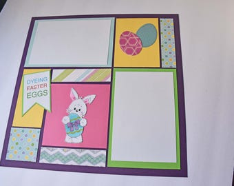 "Easter Egg Dyeing - 12"" x 12"" Premade Scrapbook Double Pages, Mosaic Scrapbook Page, Children Photos"