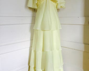 1970's Womens Vintage Lemon  Yellow Tiered Ruffles Flowing Boho Hippie Dress Large 10 - 12