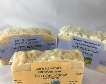 Handcrafted Buttermilk Soap, essential oil scents, NO COCONUT OIL, no palm oil, no colorants